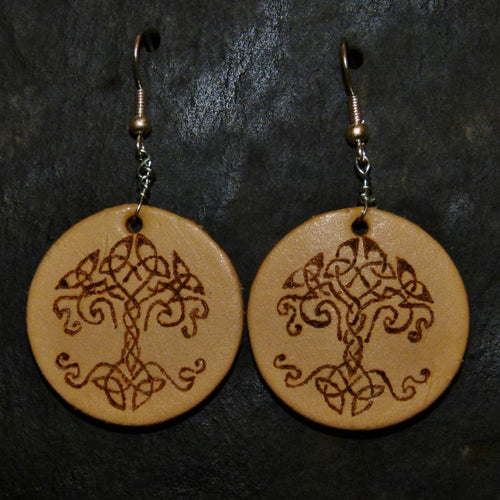 Hand Engraved Tree of Life Leather Earrings