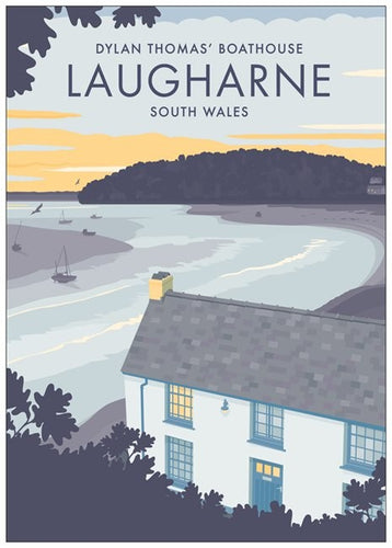 Dylan Thomas Boathouse - A4 Vintage Style Travel Poster Print