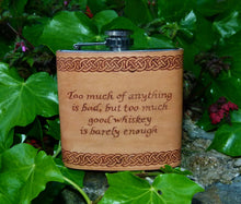 Hand Engraved Celtic Design Leather Hip Flask **Personalised**