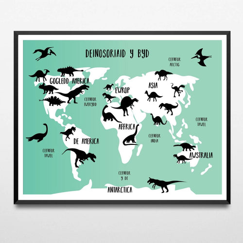 Map Deinosoriaid y Byd/ Dinosaur World Map