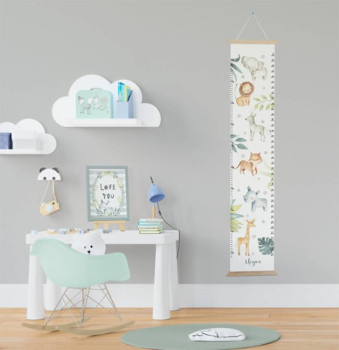 Personalised Jungle animals height chart