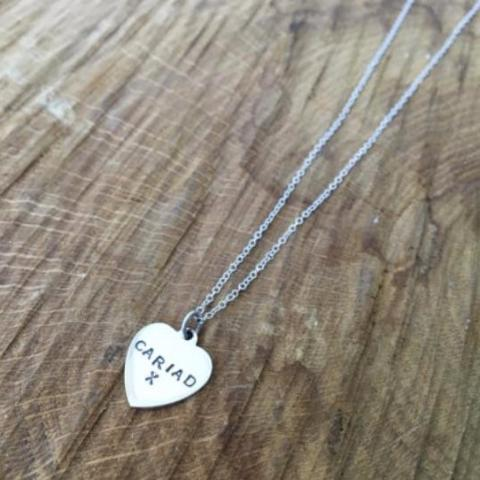 Hand Stamped 'Cariad' (Love) Heart Necklace