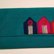 Bright large seaside applique beach hut bag (purse / pencil case / glasses case)