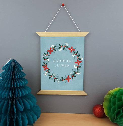 Print canfas Nadolig llawen. Welsh Merry Christmas hanging canvas print.