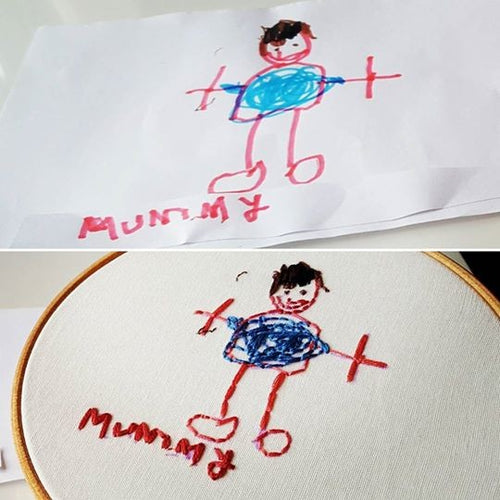Hand stitched version of your child's drawing, ready to hang