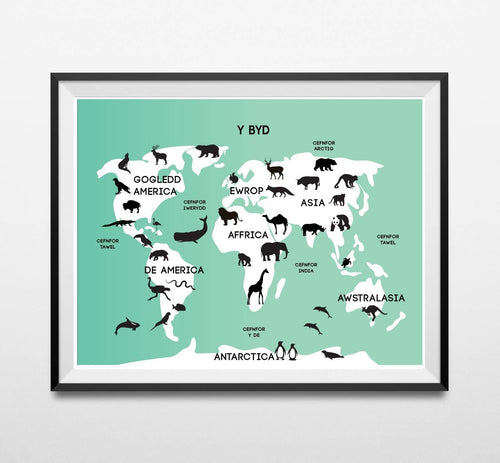 Map Anifeiliaid y Byd. Animal World Map Print