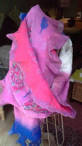 Silk and Felt Scarf/Wrap/Shawl