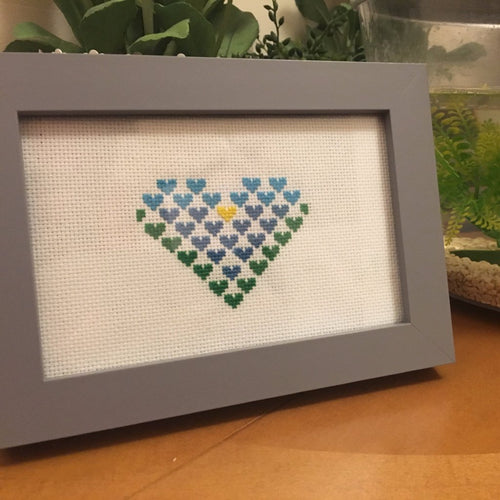 Cross Stitch Heart Frame