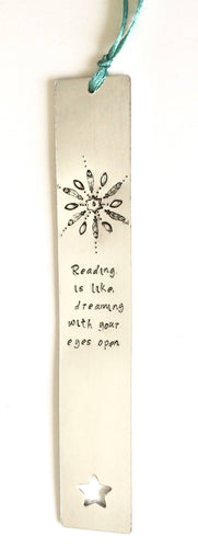 Hand stamped metal bookmark