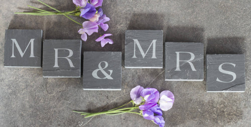 Mr & Mrs Welsh Slate Letter Blocks