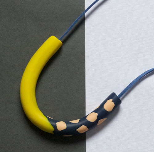 Yellow and Blue Clay Necklace