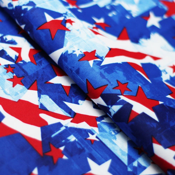 Star Spangled 4-Way Stretch Print | For Swimwear, Yoga pants, Leggings | 84% Poly, 16% Spandex - Rex Fabrics L.A.