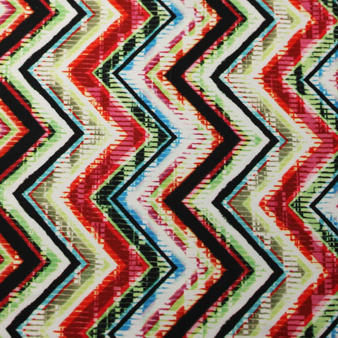 Chevron Pop 4-Way Stretch Print Fabric | For Swimwear, Athletic wear, Activewear, Yoga pants, Leggings | 84% Poly, 16% Spandex - Rex Fabrics L.A.