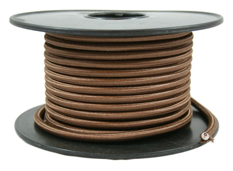 2 conductor brown round cloth covered cord - Per ft.