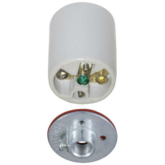 Three Conductor Medium Base Porcelain Socket