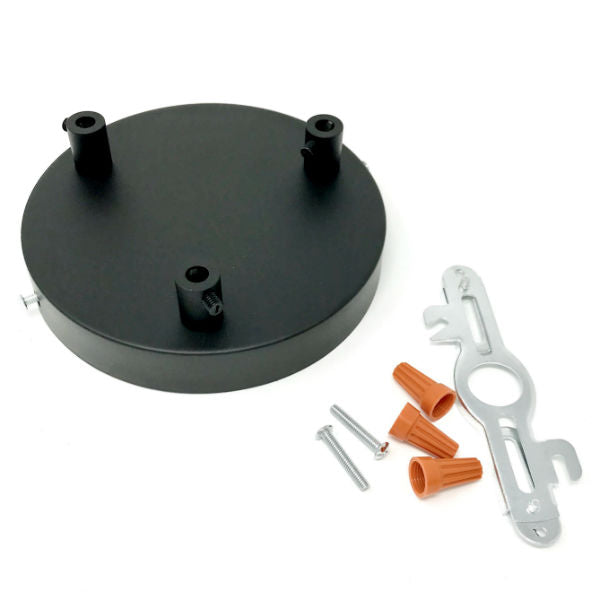 Black Rounded 3 Hole Ceiling Canopy Kit 6""