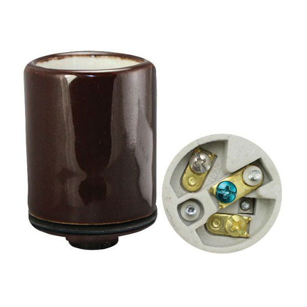 Bronze Porcelain 3 Conductor Lamp Socket