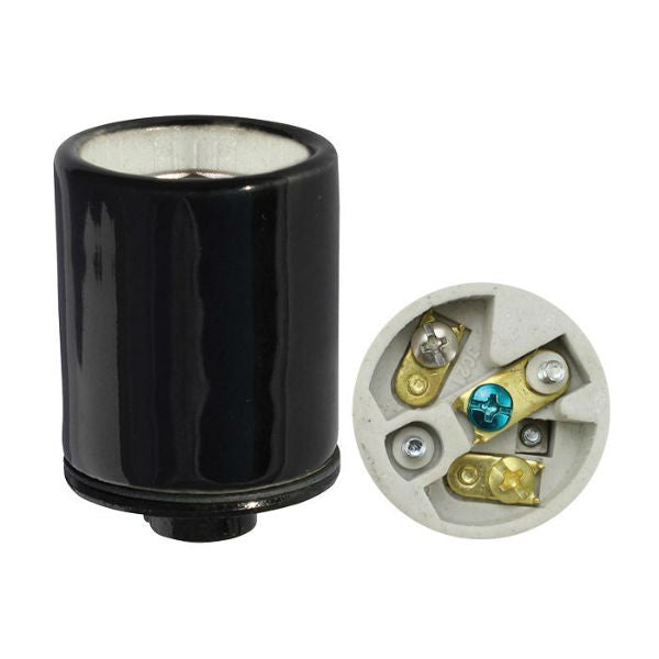 Black Porcelain 3 Conductor Lamp Socket