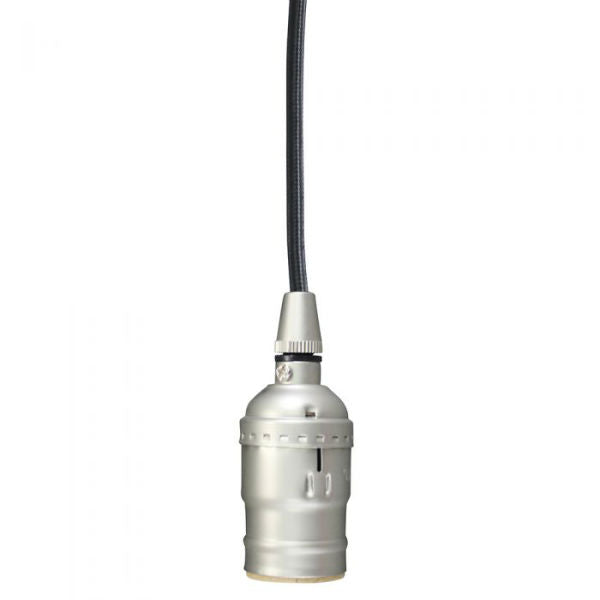 Satin Nickel & Black Cloth Cord Pendant Kit