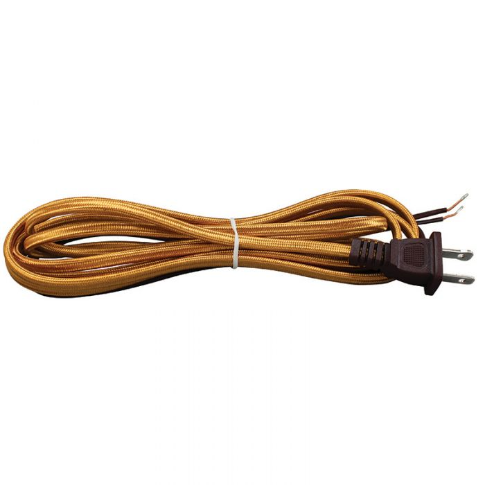 Red Cloth Covered Parallel Cord with molded Plug - 10 ft.