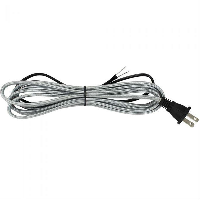 Silver Cloth Covered Parallel Cord with molded Plug - 10 ft.