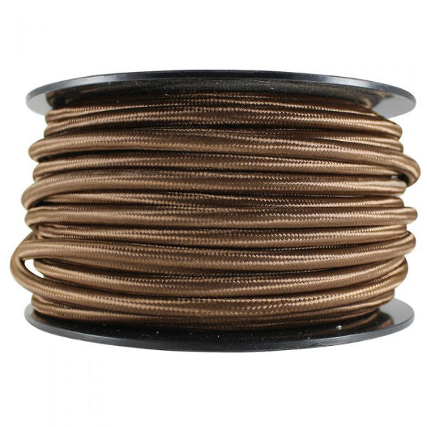 3 Conductor Brown Rayon Covered Cord - 100 ft Spool