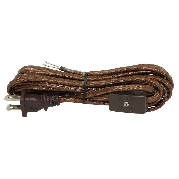 Brown Rayon Covered SPT1 Cord With on/off switch