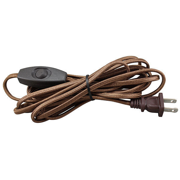Brown SPT1 rayon covered cord set with on/off toggle switch and plug ...