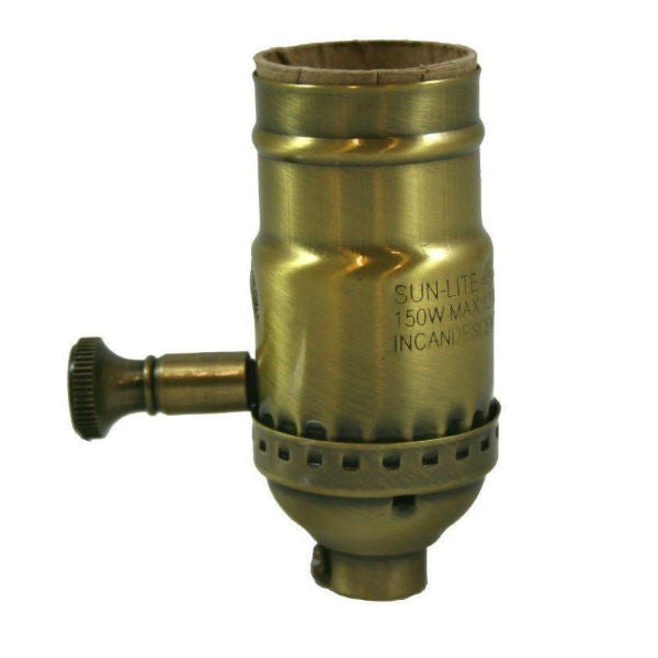 Full Range Dimmer Antique Brass Socket - Medium E26 Base