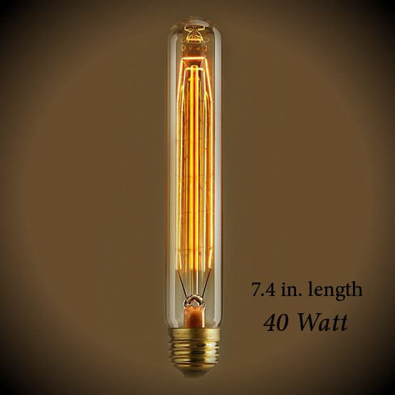Tubular Vintage Light Bulb - 40 Watt - 7.4 in Length - Clear