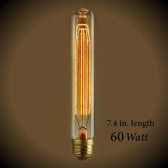 Tubular Vintage Light Bulb - 60 Watt - 7.4 in Length - Clear