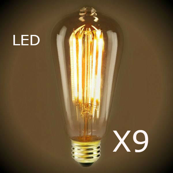 LED Filament Edison Light Bulb - ST19 Vintage - 9 Bulb pack