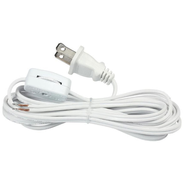 White Parallel Cord set with on/off line switch and molded Plug - 9 ft.