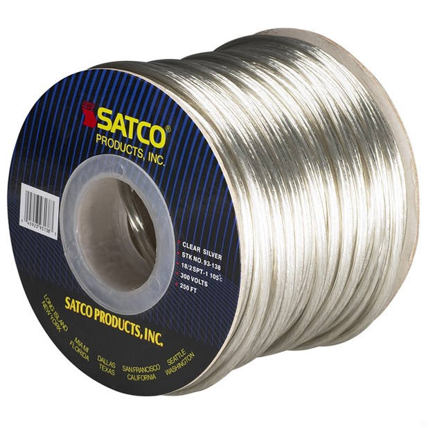 Pendant Clear Round 2 Conductor Cord- 100 FT. Spool