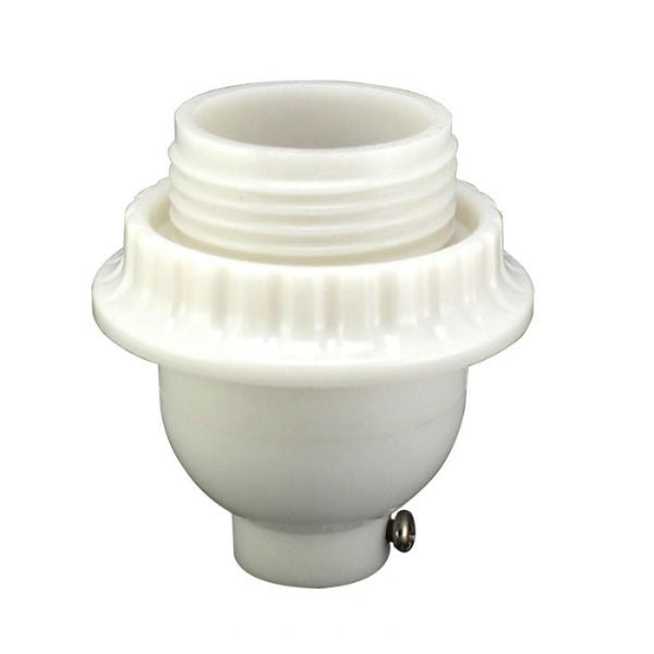 White Short Keyless Phenolic Threaded Light Socket