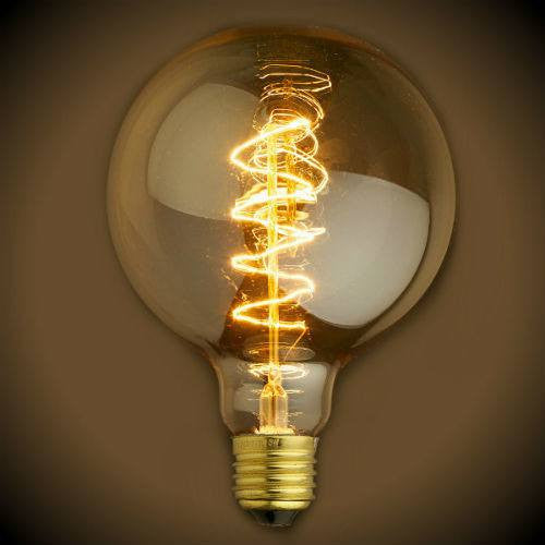 Vintage Globe 40 Watt Light Bulb G30 Spiral Filament