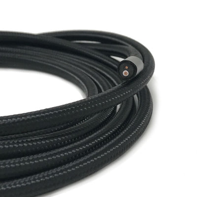2 conductor black round cloth covered cord - Per ft.
