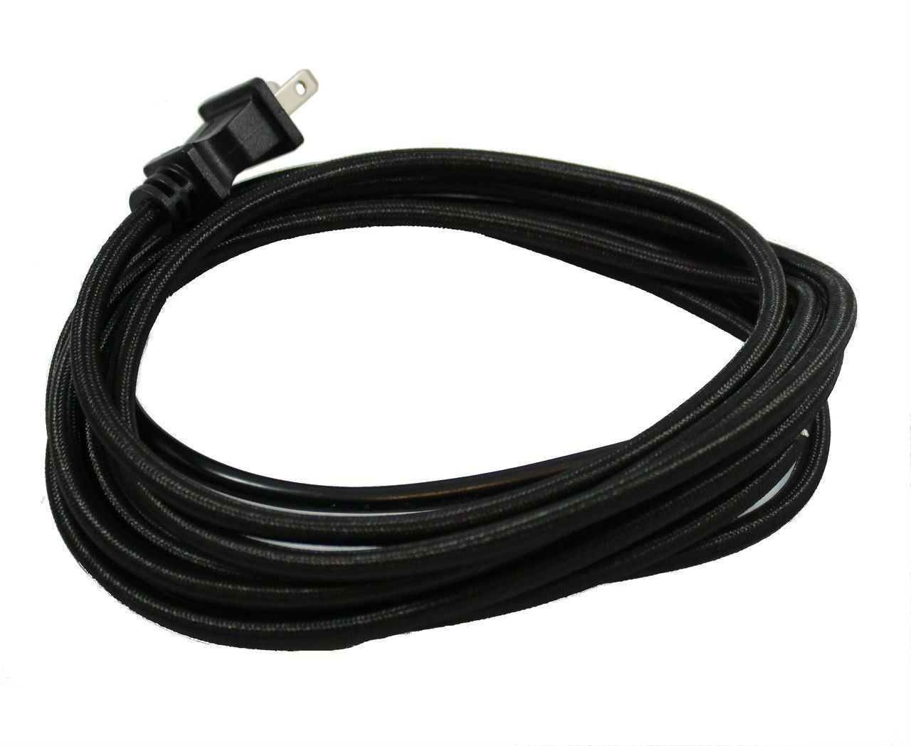 Black Cloth Covered Cord with molded Plug - 10 ft.