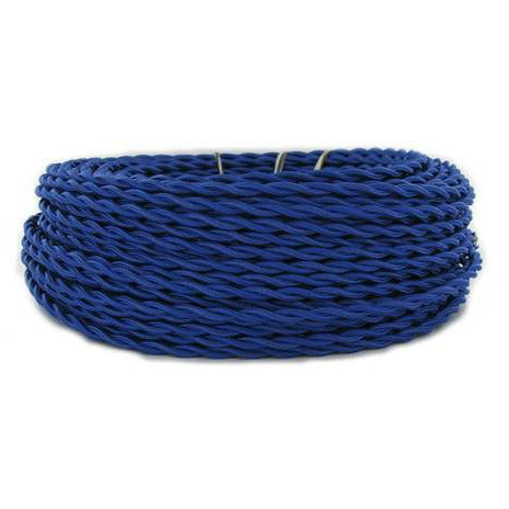 Blue Twisted cloth wire- Per ft. - 18 AWG