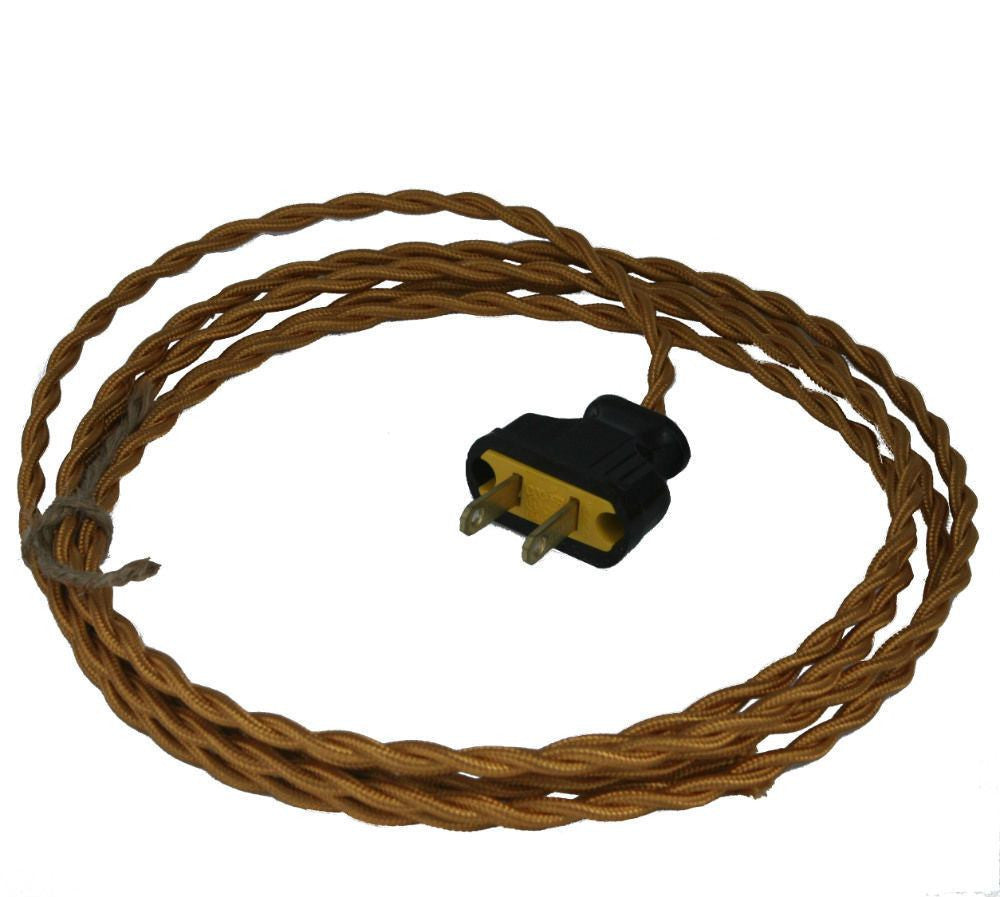 Twisted Bronze Cloth Covered Cord with Brown Plug