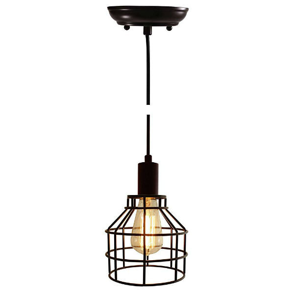 Nostalgic Industrial Bronze Caged Pendant Light