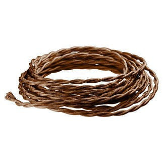 Brown Twisted cloth wire- Per ft. 20 AWG