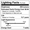 Bulbrite LED 776667 Lighting Facts