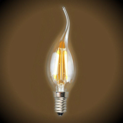 Cleveland Vintage Lighting Edison Flame Candelabra Bulbs: LED Filament C35 Flame Tip Light Bulb