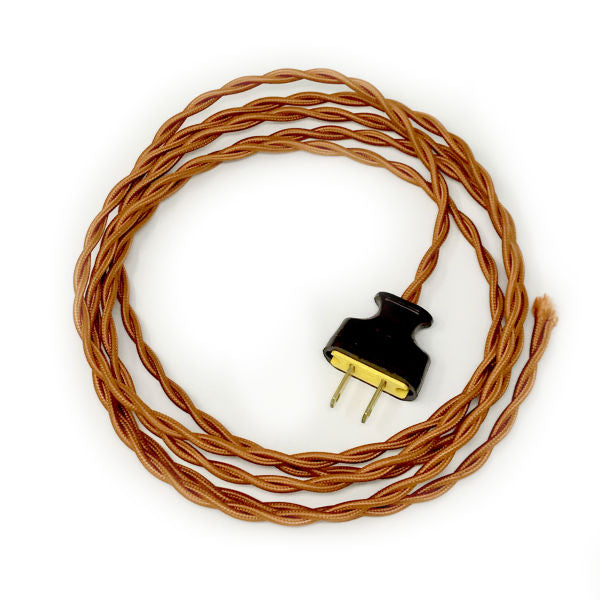 Twisted Copper Cloth Covered Cord with Brown Plug