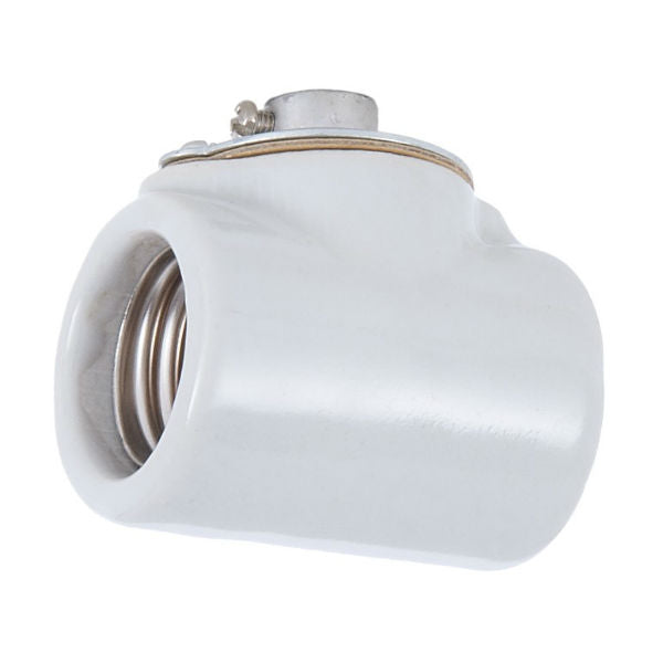 Medium Base Duplex Body Socket - Glazed Porcelain