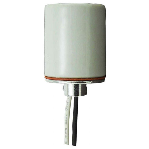 "Glazed Porcelain Lamp Socket with 18"" Leads"