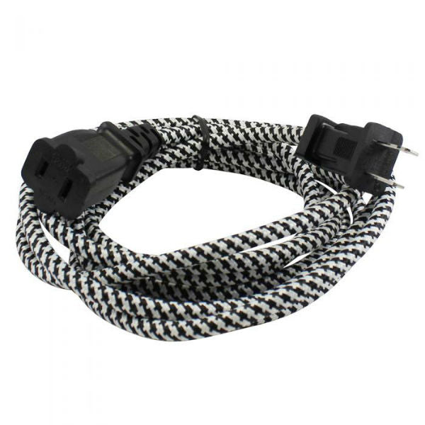 Black and White Cloth Covered Extension Cord 9 ft. SVT 2
