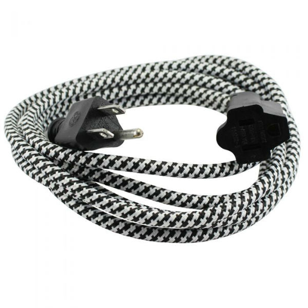Black and White Cloth Covered Extension Cord 9 ft. SVT-3