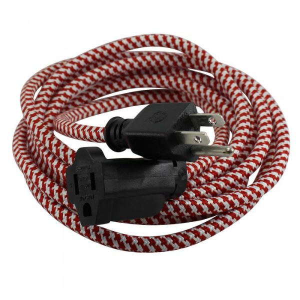 Red and White Cloth Covered Extension Cord 9 ft. SVT-3